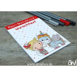 Notizblock DIN A6 Einhorn mit Mädchen (personalisierbar)