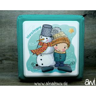 Schneemann mit Junge Winter Motiv-Vollschutzfolie