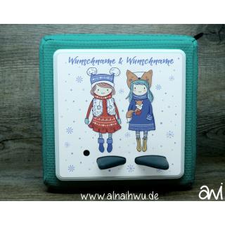 Winter-Schwestern mit Schneeflocken Motiv-Vollschutzfolie