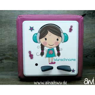 Mädchen mit Kopfhörern Motiv-Vollschutzfolie