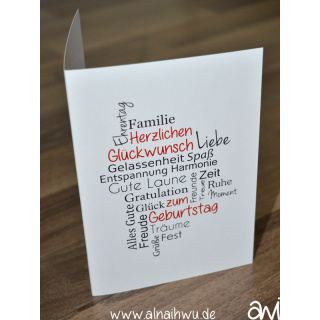 Geburtstagskarte Wortsammlung Klappkarte DIN A6